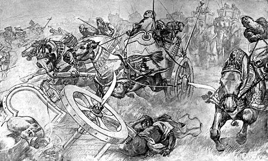 Chars perses à la bataille de Gaugamèles bataille de gaugamèles La bataille de Gaugamèles | Alexandre le Grand historyweb histoire chars perses bataille gaugameles