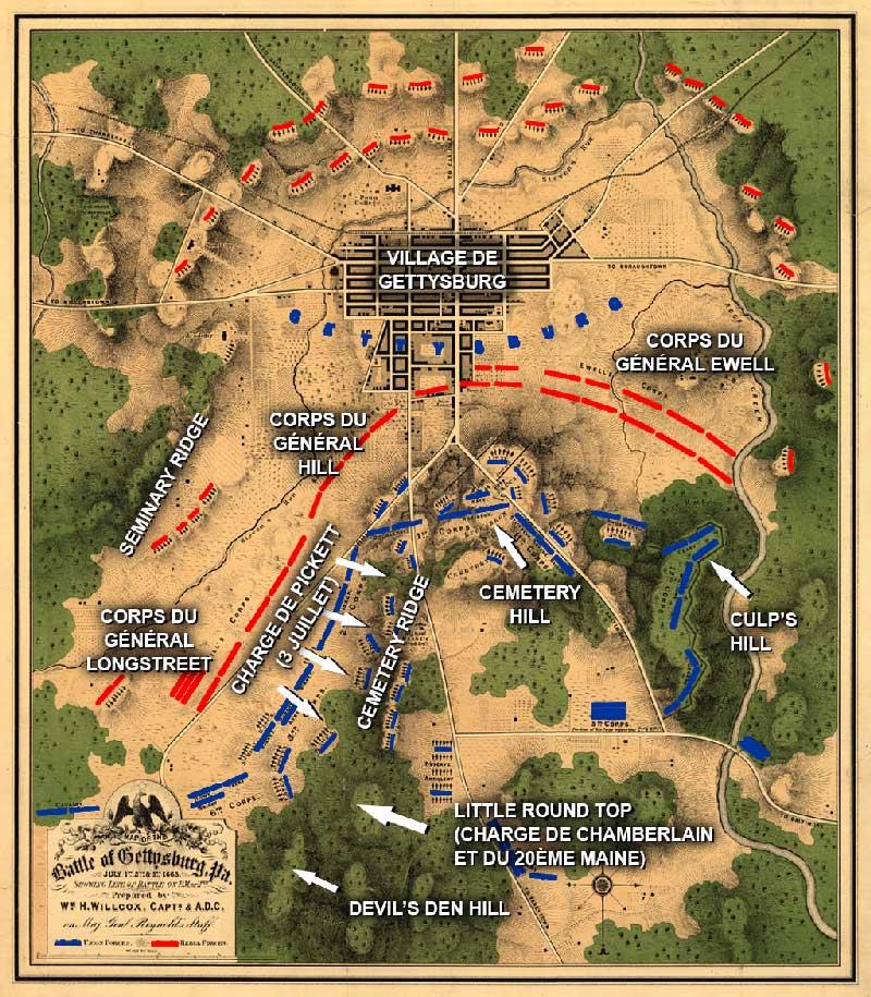 Bataille de Gettysburg | Plan | Site d'Histoire | Historyweb la bataille de gettysburg LA BATAILLE DE GETTYSBURG plan bataille gettysburg 2